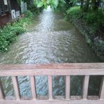 増水している高瀬川